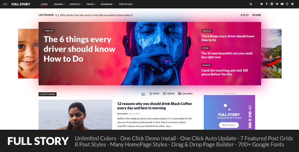 FullStory - WordPress Theme for Blog / Magazine / Newspaper - News / Editorial Blog / Magazine