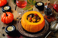 Pumpkin stuffed with meat and vegetables