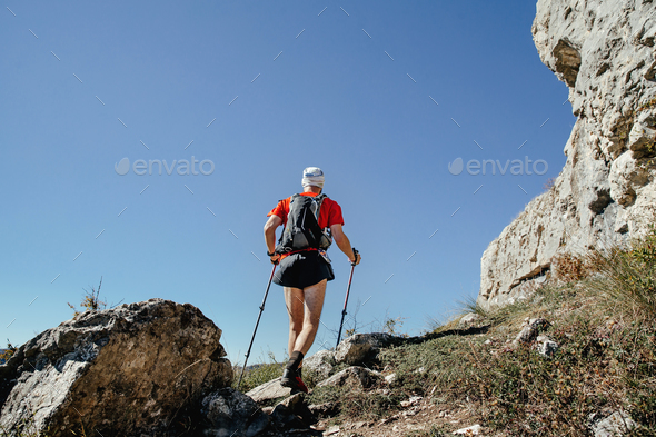 Male Athlete with Walking Poles - Stock Photo - Images