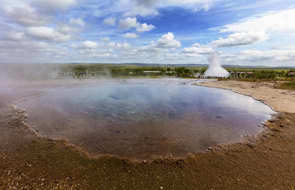 Large eruption geyser and hot spring in Iceland - Stock Photo - Images