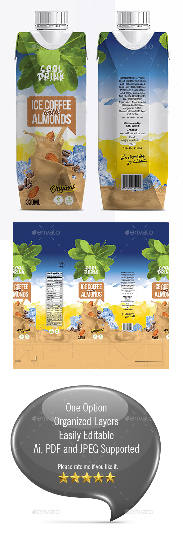 ICE COFFEE PACKAGING TEMPLATE - Packaging Print Templates