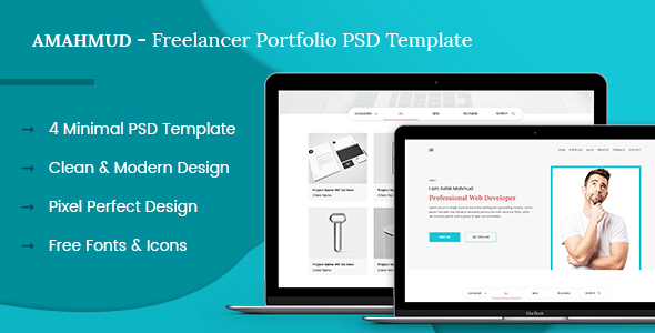 ThemeForest AMAHMUD Freelancer Portfolio PSD Template 20381065