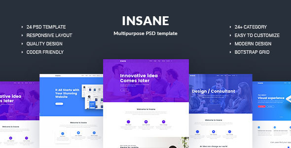 Free Download INSANE Multipurpose PSD Template