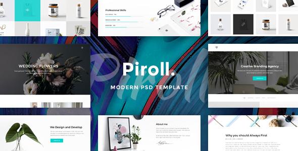 Piroll – Modern & Minimal Portfolio PSD Template Free