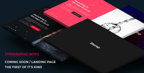 Coming Soon Template | Landing Page | Stomp - Typographic Intro