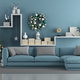 Blue modern living room with christmas tree - PhotoDune Item for Sale