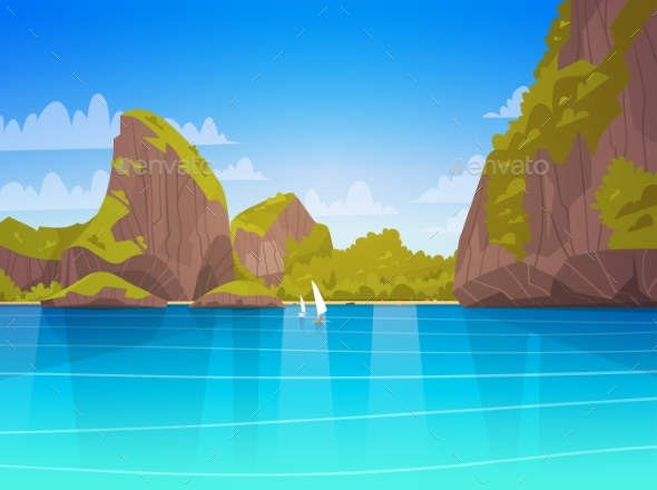 GraphicRiver Sea Landscape Asian Beach with Mountains 20381644