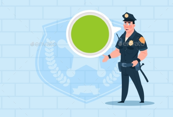 GraphicRiver Policeman with Chat Bubble Wearing Uniform 20381702