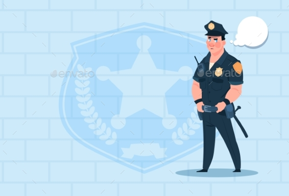 GraphicRiver Policeman with Chat Bubble Wearing Uniform 20381708