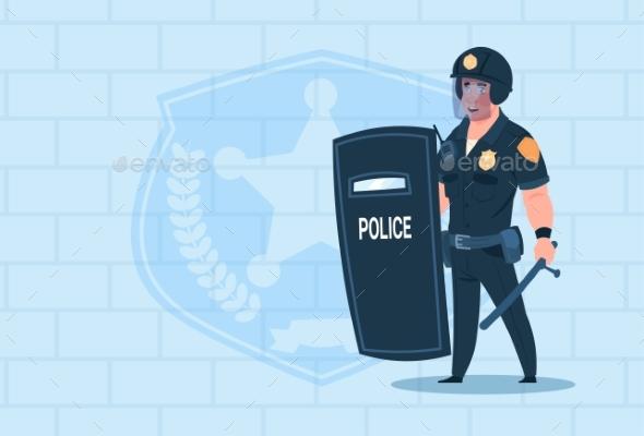 Policeman Holds Shield Wearing Helmet Uniform - People Characters