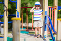 Little boy crying on playground