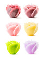 Colorful decorative rose-shaped candles over white
