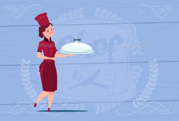 Female Chef Cook Holding Tray With Dish Smiling - People Characters