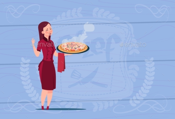 Female Chef Cook Holding Pizza Cartoon - People Characters