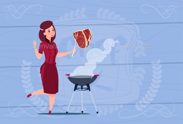 Female Chef Cook Grilling Meat Cartoon - People Characters