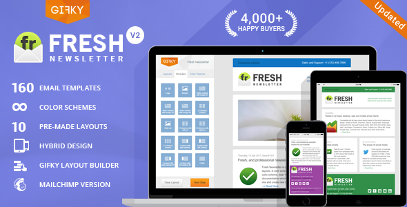 Free Download Fresh Newsletter - Hybrid Email Template + Access to Gifky Layout Builder Nulled Latest Version