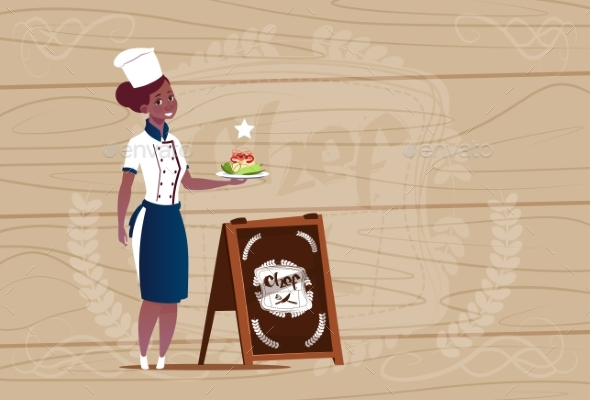 Female Chef Cook Holding Salad - People Characters