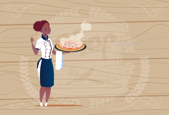 Female Chef Cook Holding Pizza - People Characters