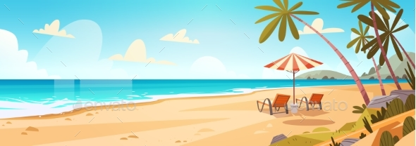 Summer Vacation Loungers on Sea Beach Landscape - Landscapes Nature