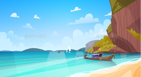 GraphicRiver Thailand Landscape Long Tail Boat Seascape 20382132