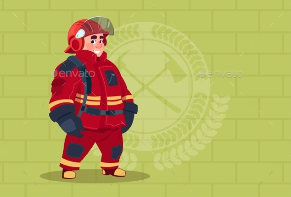 GraphicRiver Fireman Wearing Uniform and Helmet 20382165