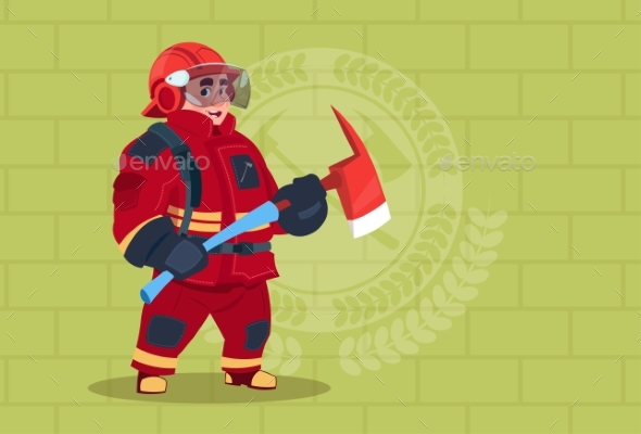 GraphicRiver Fireman Holding Hammer Wearing Uniform and Helmet 20382167
