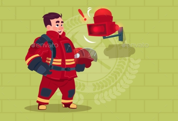 GraphicRiver Fireman Hears Alarm Wearing Uniform Holding Helmet 20382170