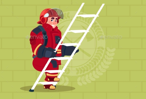 GraphicRiver Fireman Climbs Ladder in Uniform and Helmet 20382176