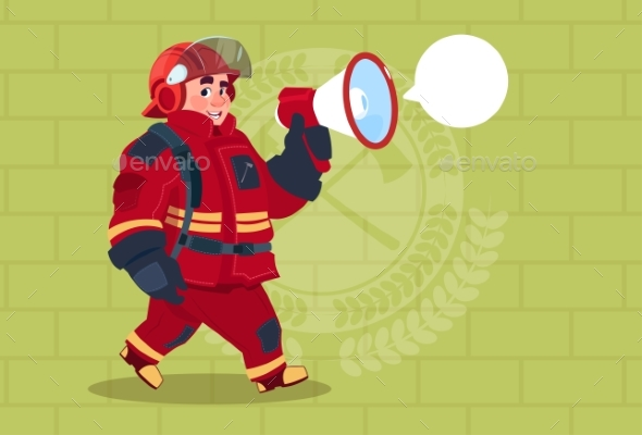Fireman Speaking in Megaphone Wears Uniform - People Characters