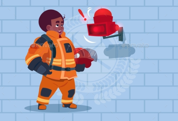 Fireman Hears Alarm - People Characters