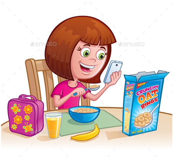 Girl Eating Cereal - People Characters