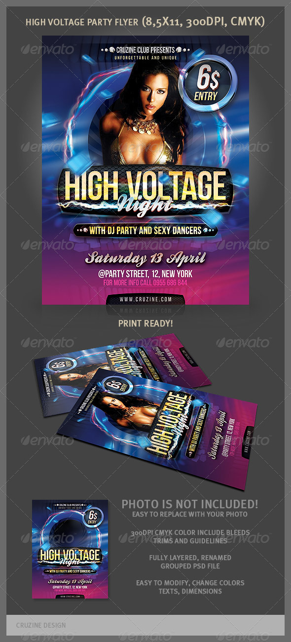 High Voltage Party Flyer - Clubs & Parties Events