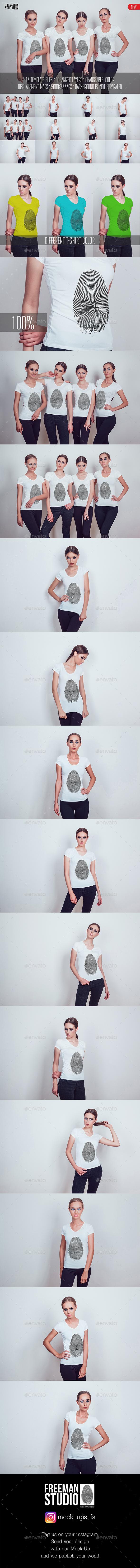 Women's T-Shirt Mock-Up Vol.1 2017 - Product Mock-Ups Graphics