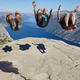 Jumpers on Preikestolen rock. Norway landmark. Astonishing photo. Lysefjorden - PhotoDune Item for Sale