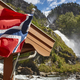 Norwegian twin waterfall. Norway flag. Latefossen. Highlight - PhotoDune Item for Sale