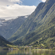 Norwegian fjord landscape with mountains and village. Sorfjorden. Norway. Horizontal - PhotoDune Item for Sale
