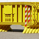 Yellow plastic barrier fence over an asphalt road. Security - PhotoDune Item for Sale