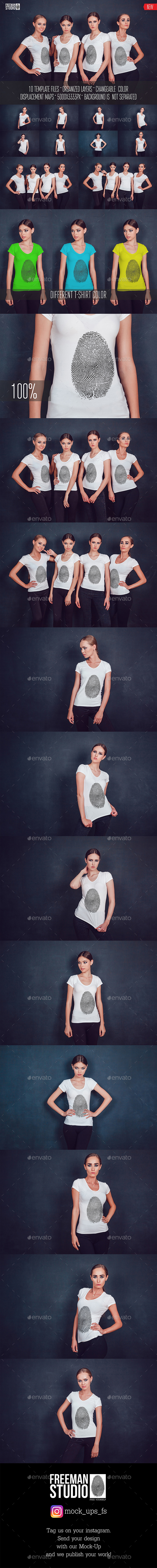 Women's T-Shirt Mock-Up Vol.2 2017 - Product Mock-Ups Graphics