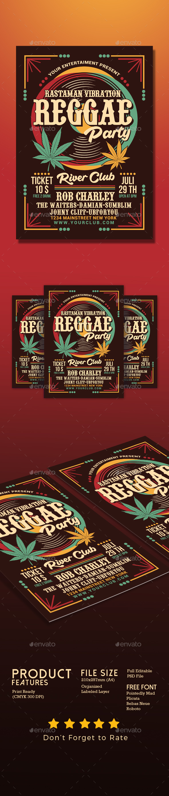 Reggae Music Party Flyer - Events Flyers