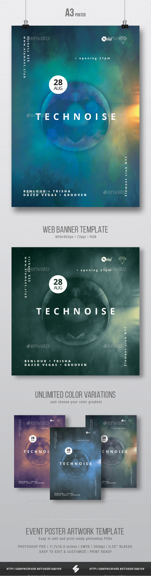 GraphicRiver Technoise vol.2 Minimal Party Flyer Poster Artwork Template A3 20383375
