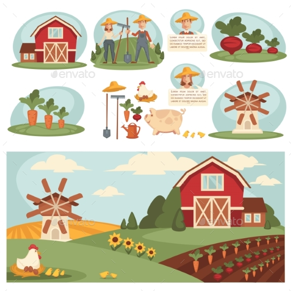GraphicRiver Farm Household or Farmer Agriculture and Cattle 20383496