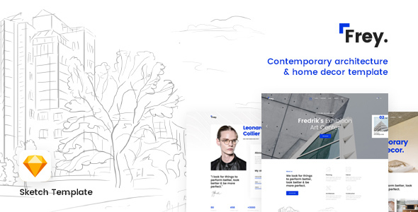 Frey - Contemporary Architecture & Portfolio Sketch Template - Sketch Templates