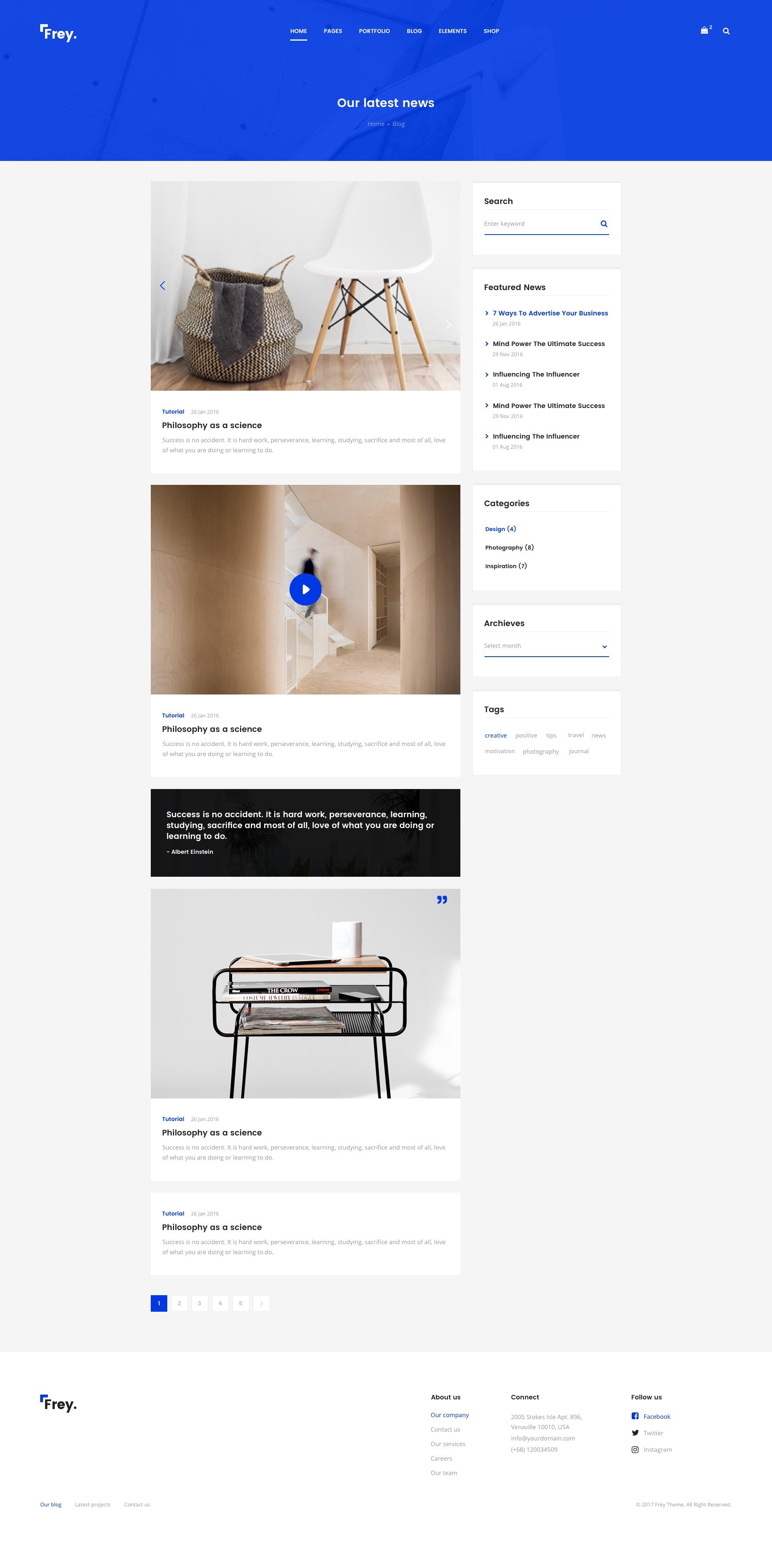 Frey - Contemporary Architecture & Portfolio Sketch Template by ThemeSun
