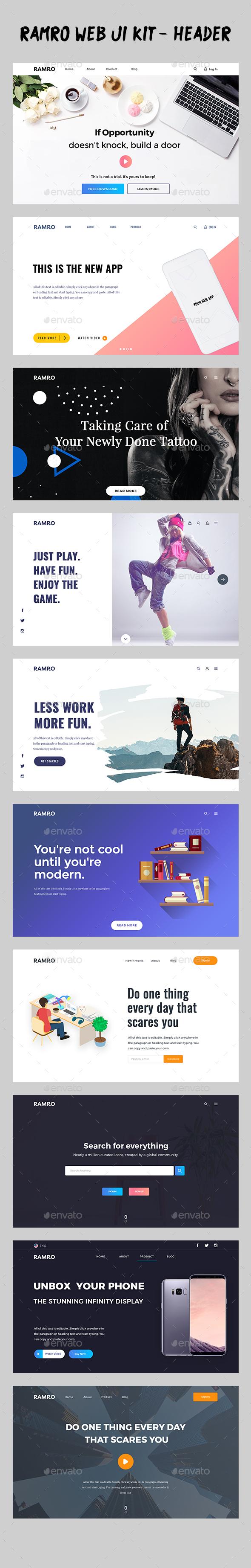 GraphicRiver Ramro Web UI Kit Header 19907959