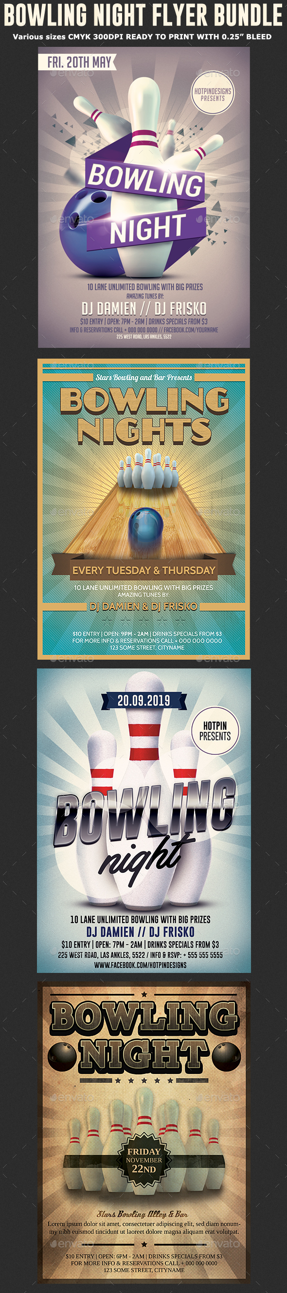 GraphicRiver Bowling Night Flyer Template Bundle 20383592