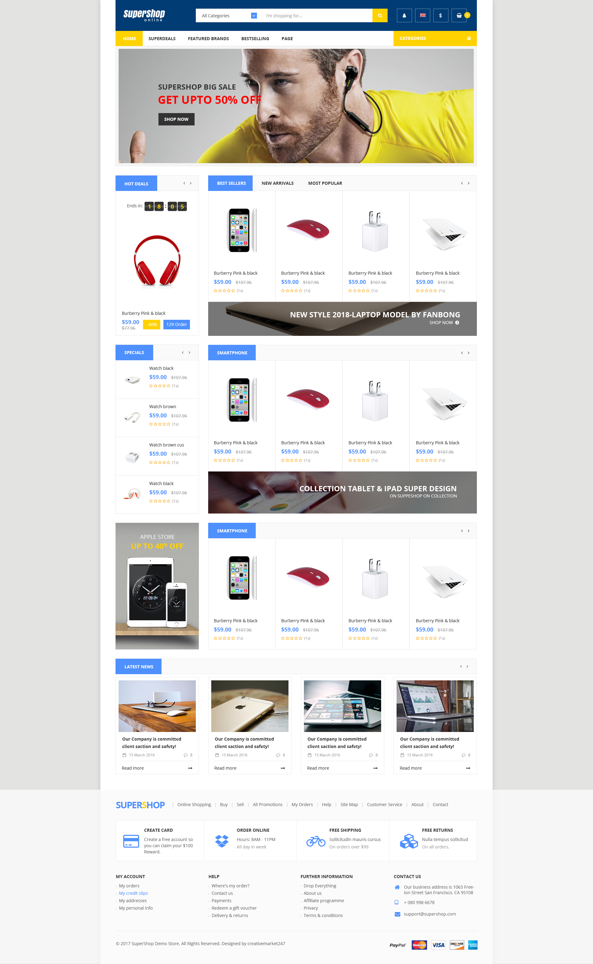 Supershop Market PSD Template By Creativemarket ThemeForest - Invoice templates for free burberry outlet online store