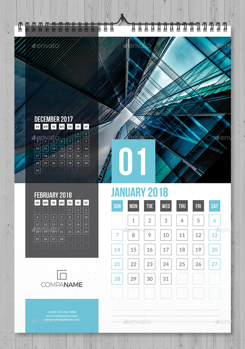 Wall Calendar 2018 By Bourjart Graphicriver