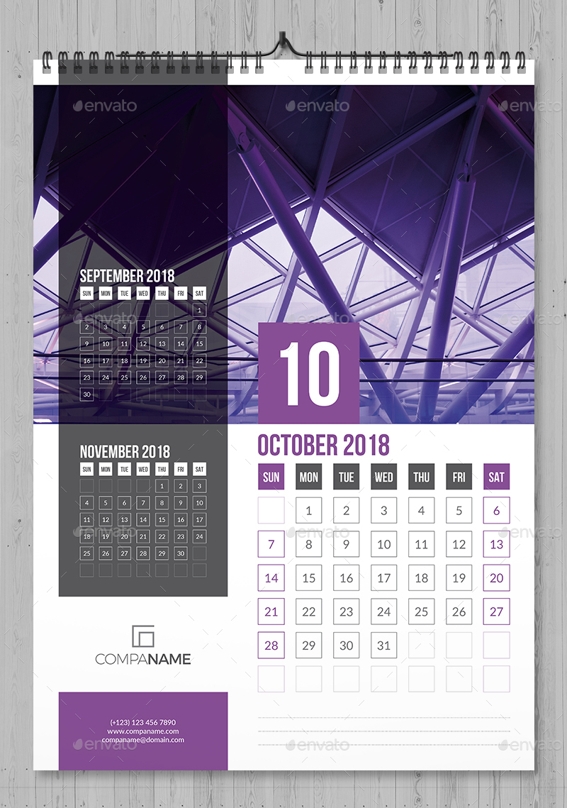 wall calendar 2018 by bourjart