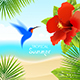 Tropical Background with Hummingbird
