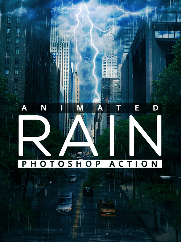 Animated Raining Photoshop Action - Actions Photoshop